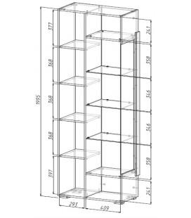 Шкаф - витрина Сахара арт. 1901 схема с размерами