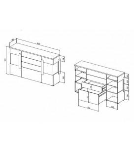 Комод 2 двери 4 ящика Куба арт. 1709 схема с размерами