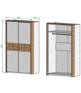 шкаф-купе Аризона арт. 2701 наполнение и размеры