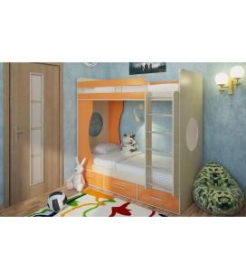 двухъярусная кровать Милана-1 дуб молочный / манго