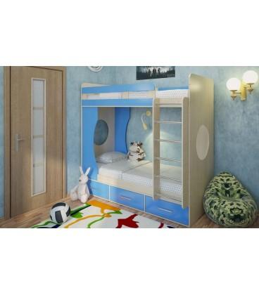 двухъярусная кровать Милана-1 дуб молочный / синий