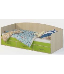 Кровать м-12 Милана-12 дуб молочный / лайм