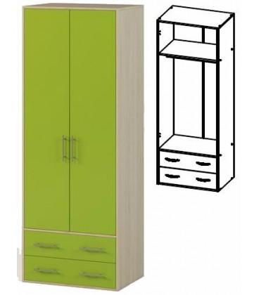 Шкаф двух створчатый с ящиками арт. 1.04 Милана дуб молочный / лайм