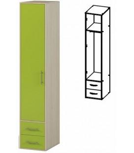 Шкаф одностворчатый с ящиками. арт. 1.17 Милана дуб молочный / лайм