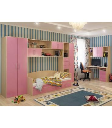 детская Милана комплект №2 дуб молочный / розовый