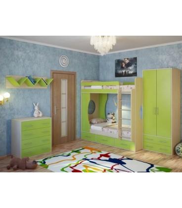 детская Милана комплект №3 с двухъярусной кроватью дуб молочный / лайм