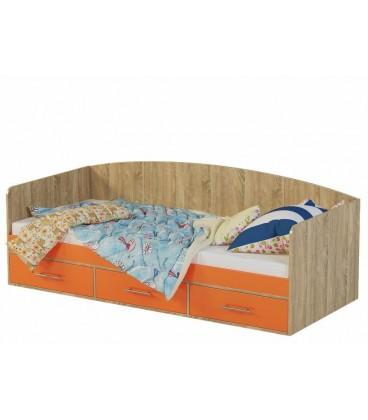 Кровать Милана-12 дуб сонома / манго