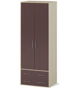 Шкаф двух створчатый с ящиками арт. 1.04 Милана дуб молочный / венге