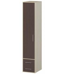 Шкаф одностворчатый с ящиками. арт. 1.17 Милана дуб молочный / венге