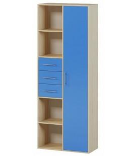 Стеллаж-Шкаф 2 ящика арт. 1.18 Милана дуб молочный / синий