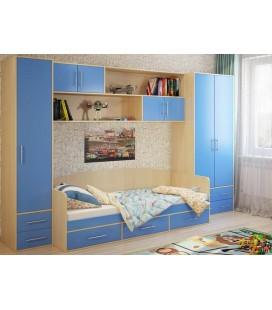 детская Милана комплект №4 корпус дуб молочный фасад синий