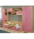 детская стенка Милана комплект №5 корпус дуб молочный фасад розовый